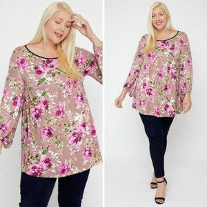 Floral Bubble Sleeve Tunic Pink